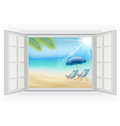Open window on a beach background vector image vector image