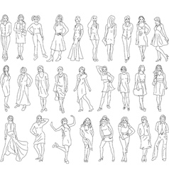 Sketches of women vector image vector image