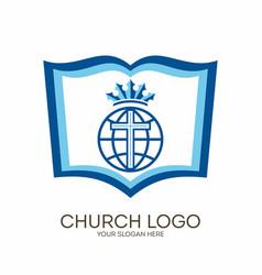 Bible cross and globe vector