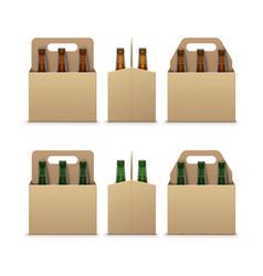 brown green bottles of dark beer with packaging vector image