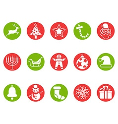 Christmas round button icons set vector image