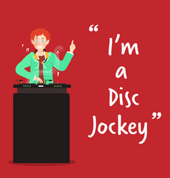 disc jockey character on red background vector image