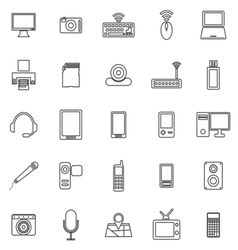 Gadget line icons on white background vector image vector image