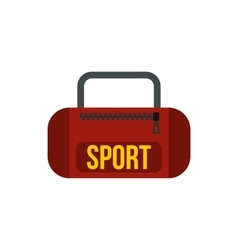 Red sports bag icon in flat style vector image