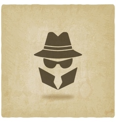 spy icon old background vector image