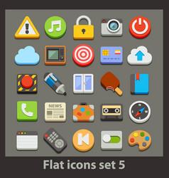 flat icon-set 5 vector image