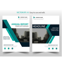 green abstract triangle annual report brochure vector image