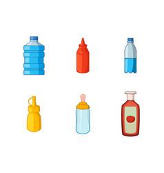 plastic bottle icon set cartoon style vector image vector image