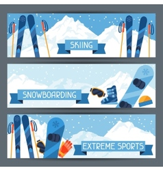 Winter extreme sports banners with mountain winter vector image vector image