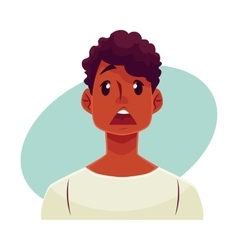 Young african man face surprised facial vector image vector image