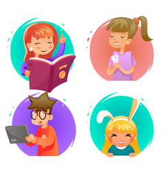 cute happy children boy and girls characters set vector image