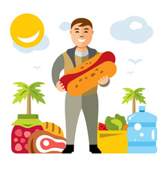 happy hipster man with hot dog flat style vector image