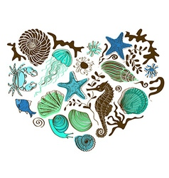 Heart of sea animals and shells vector image