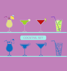 icons set with cocktails vector image
