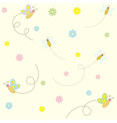 Seamless pattern with cute insects and flowers vector image