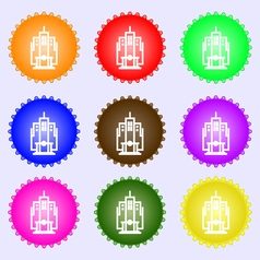 skyscraper icon sign A set of nine different vector image