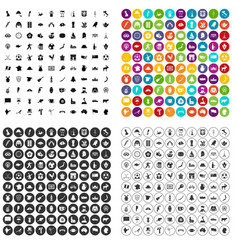 100 map icons set variant vector image