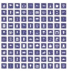100 windmills icons set grunge sapphire vector