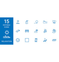 15 relaxation icons vector image
