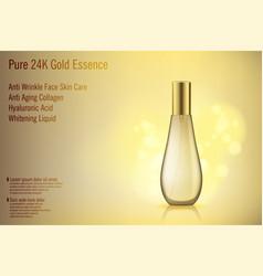 3d realistic gold perfume bottle mockup vector