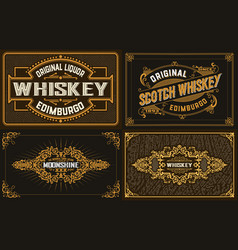 4 old labels for packing western style vector image