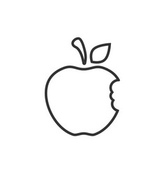 Apple bitten icon outline icon isolated on white vector