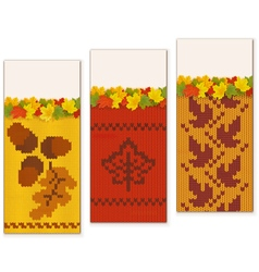 Autumn Knitted Banners Set 2 vector image