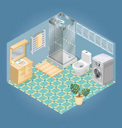 bathroom items and furniture isometric icon set vector image