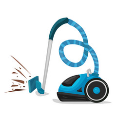 Blue vacuum cleaner cartoon vector