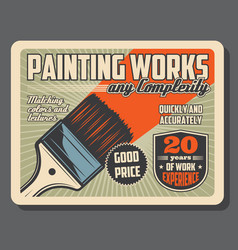 Brush and paint painting tool equipment vector