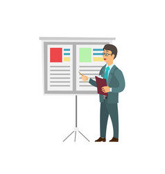 Businessman in suit reporting near board with info vector