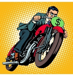 Businessman on a motorcycle Financial success vector