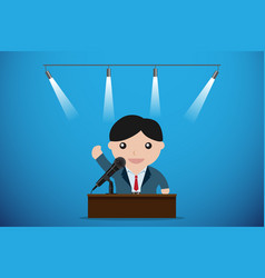 businessman speaking with microphone behind table vector image