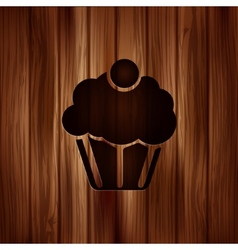Cake web icon Wooden background vector image vector image