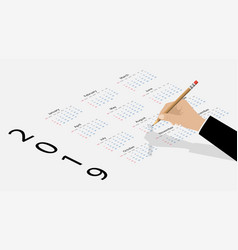 calendar on 2019 year hand with pencil and vector image