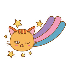 cat and rainbow vector image