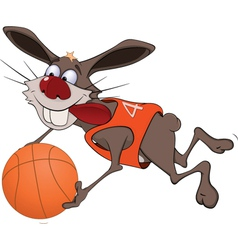 Cheerful hare with a ball vector image