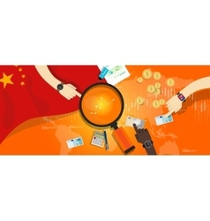 chine economy financial economic growth inflation vector image