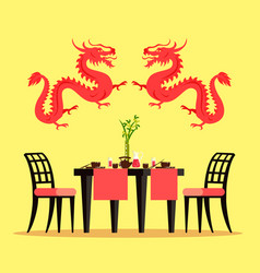 Chinese restaurant furniture and interior design vector