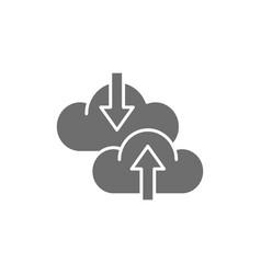 cloud arrow data transfer download loading grey vector image