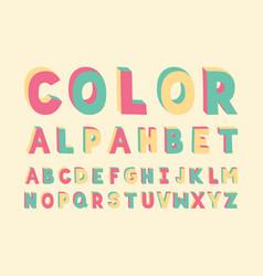color handwritten font alphabet vector image