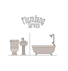 color poster of bathroom plumbing service vector image