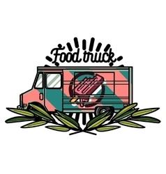 Color vintage Food truck emblem vector image