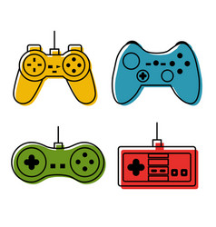 Controller console set video game different color vector