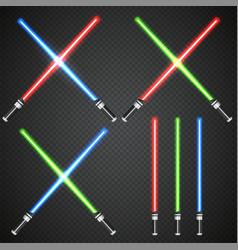 Crossed light swords on dark plaid background vector