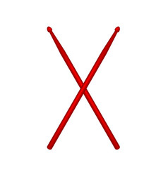 Crossed pair of red wooden drumsticks vector