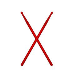 Crossed pair of red wooden drumsticks vector