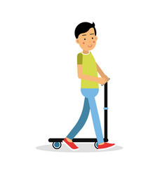 cute brunette boy teen riding a kick scooter vector image