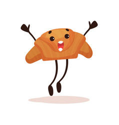 cute croissant with funny face jumping with arms vector image