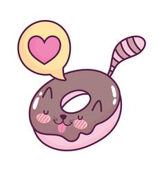 cute food donut talk bubble sweet kawaii cartoon vector image
